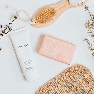 Alpha-H Micro cleanse super scrub with rosewater + Pink Clay Body bar