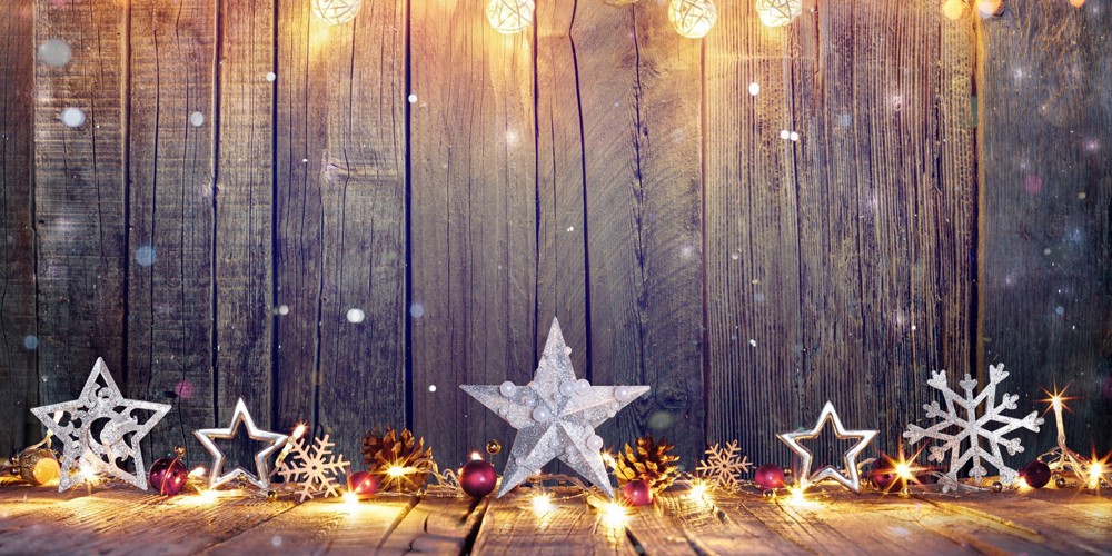 Christmas decorations in wood background with lights