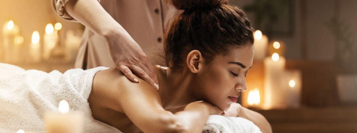 Girl having a massage on her back
